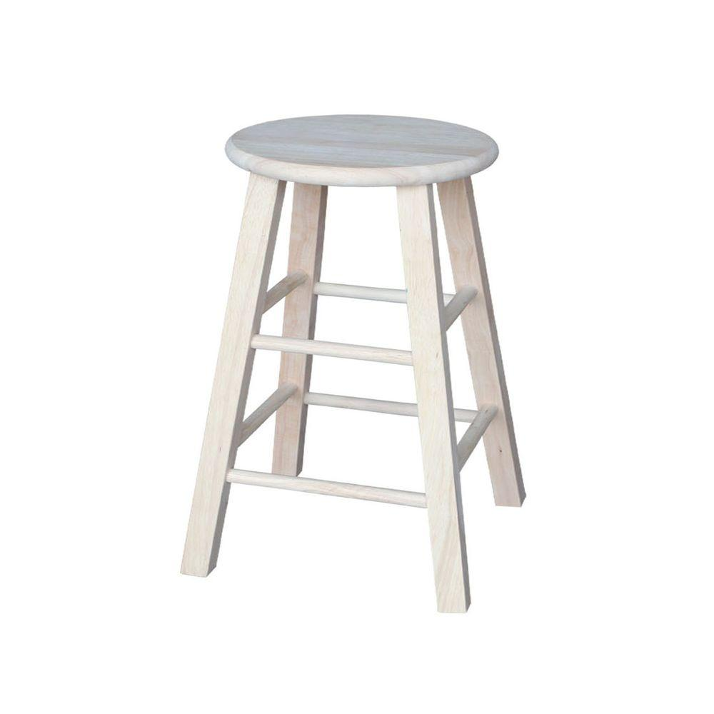 International concepts 24 in unfinished wood bar stool 1s 524 the home depot Home depot wood bar stools