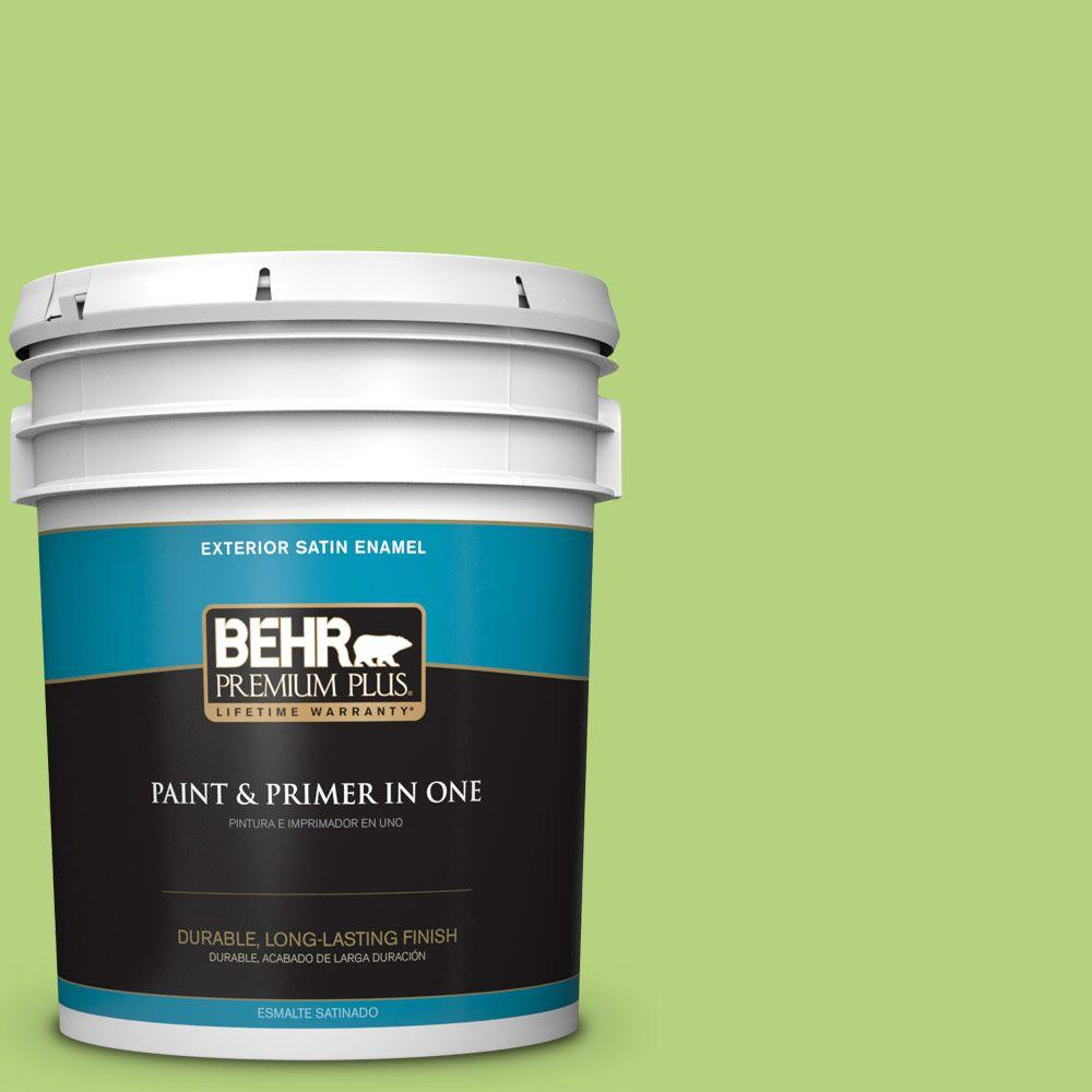 BEHR Premium Plus 5-gal. #420B-4 Tart Apple Satin Enamel Exterior Paint