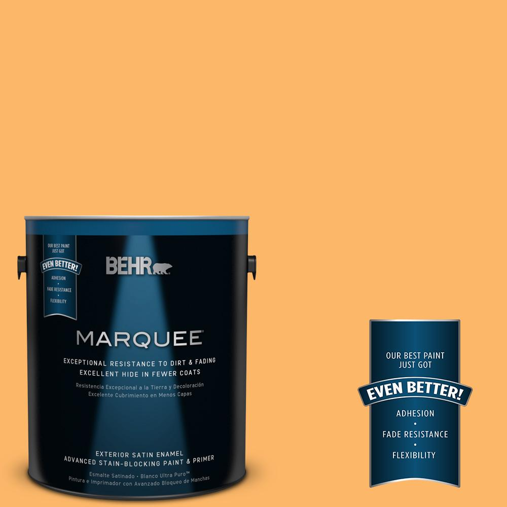 BEHR MARQUEE 1-gal. #HDC-SM14-11 Yellow Polka Dot Satin Enamel Exterior Paint