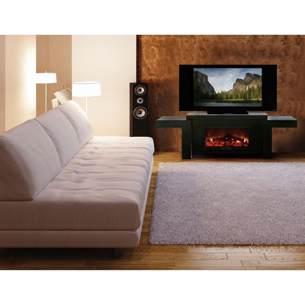 Yosemite Home Decor 101 in. Media Console Electric Fireplace in Black-DISCONTINUED
