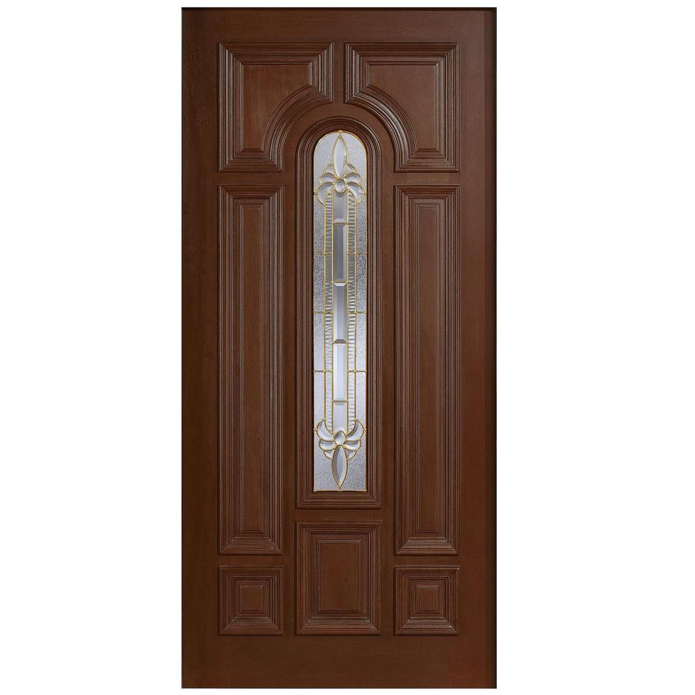 Main door 36 in x 80 in mahogany type arch glass for Vintage solid wood doors