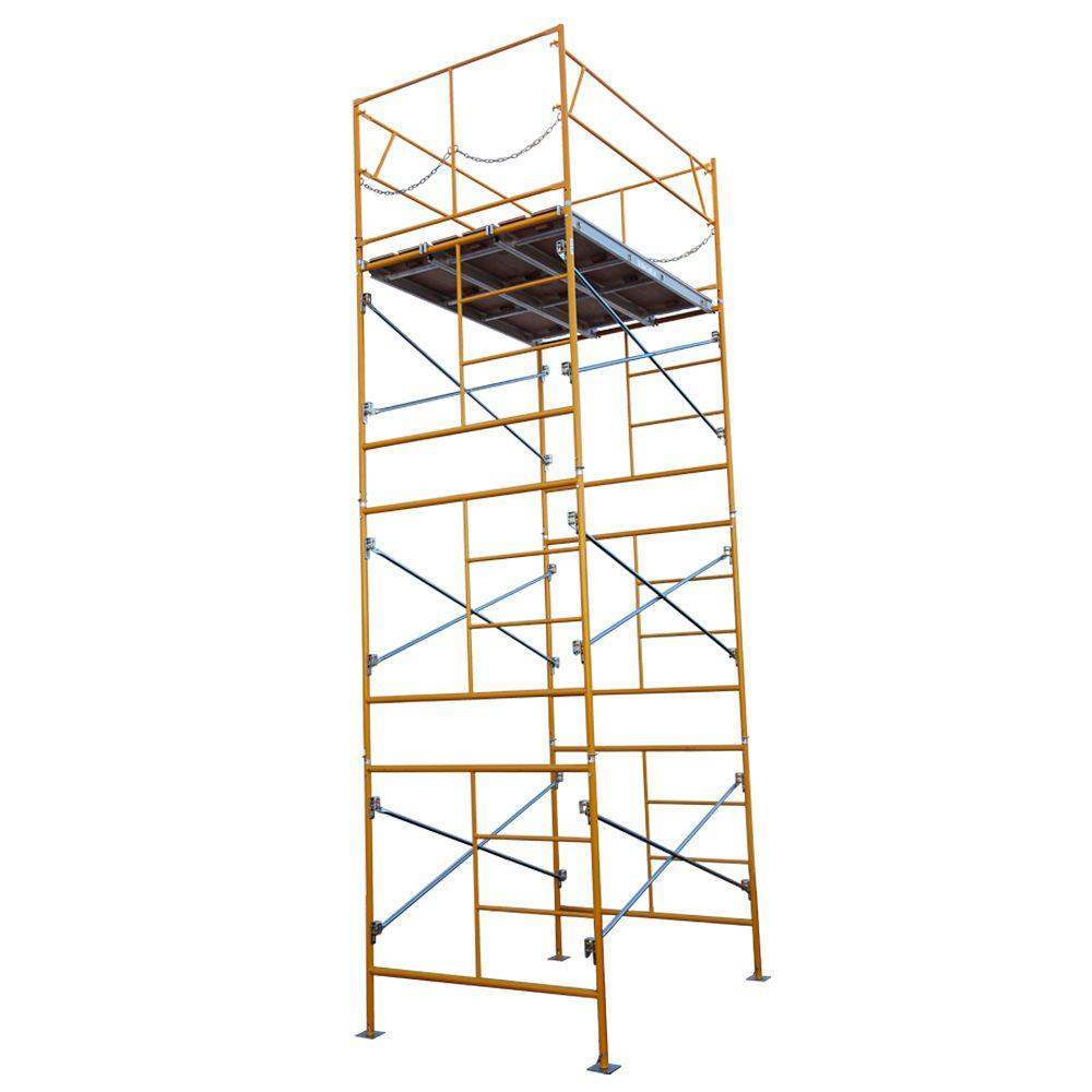 Metaltech 4 Ft X 4 Ft X 2 Ft Mini Rolling Scaffold 500 Lb Load Capacity With Tool Shelf I