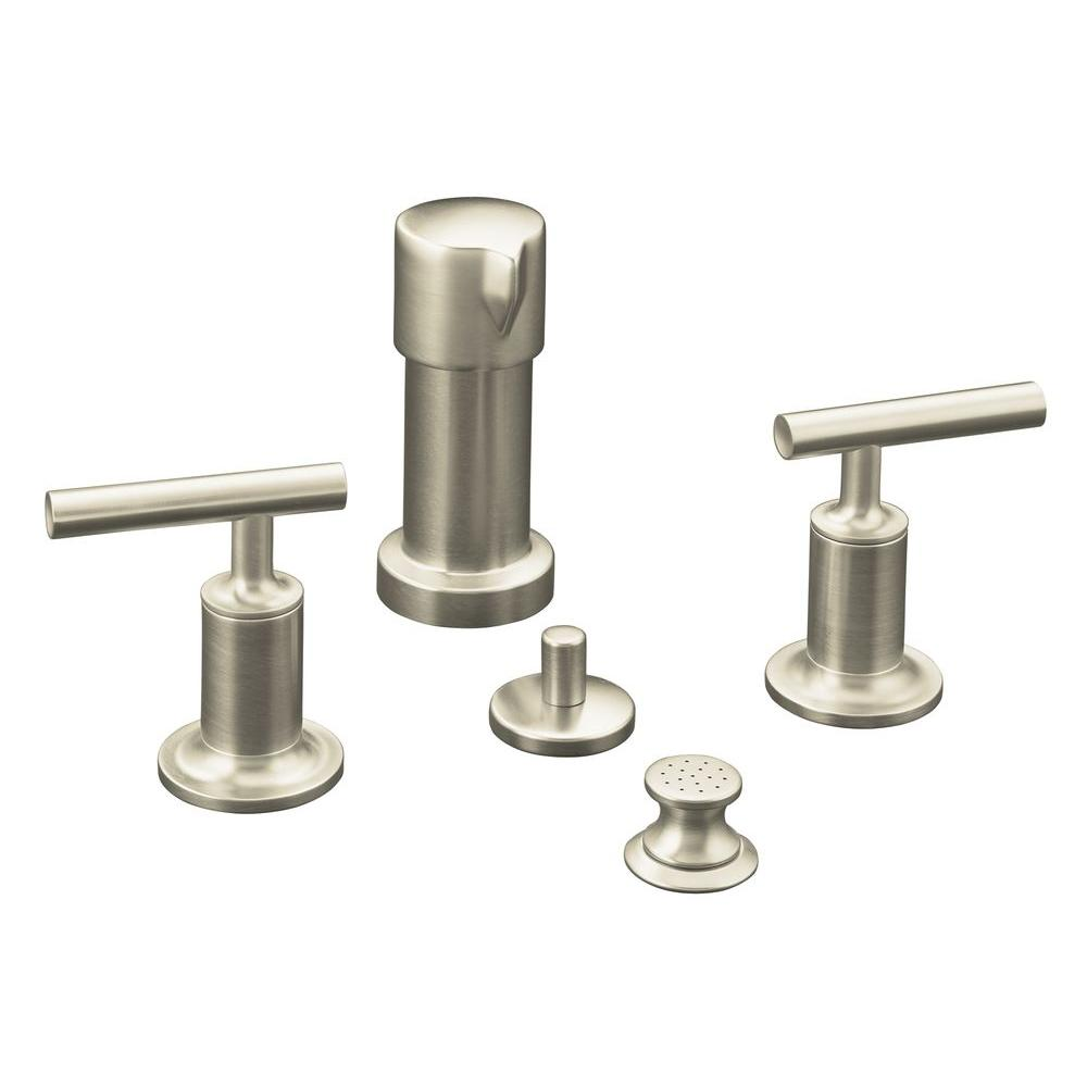KOHLER Purist 2-Handle Bidet Faucet in Vibrant Brushed Nickel with Vertical Spray and Lever Handles