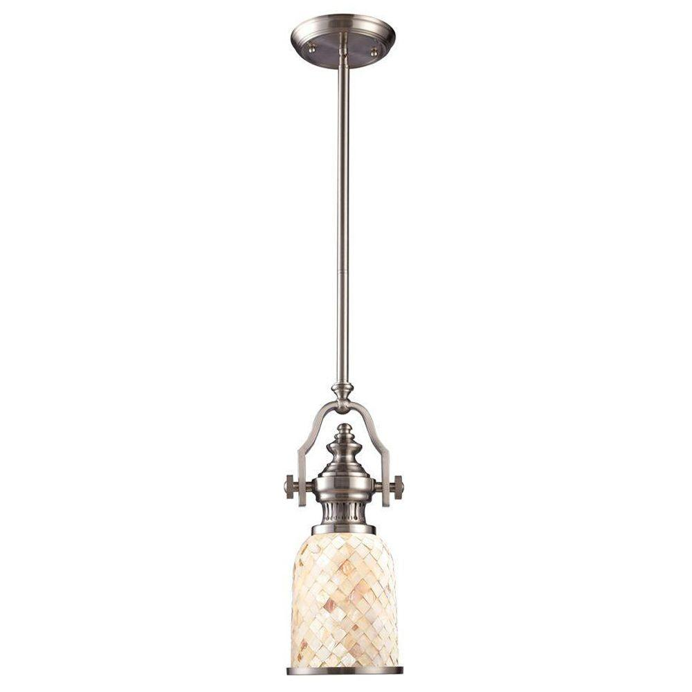Titan Lighting Chadwick 1-Light Satin Nickel Ceiling Mount Pendant-TN-10046 -