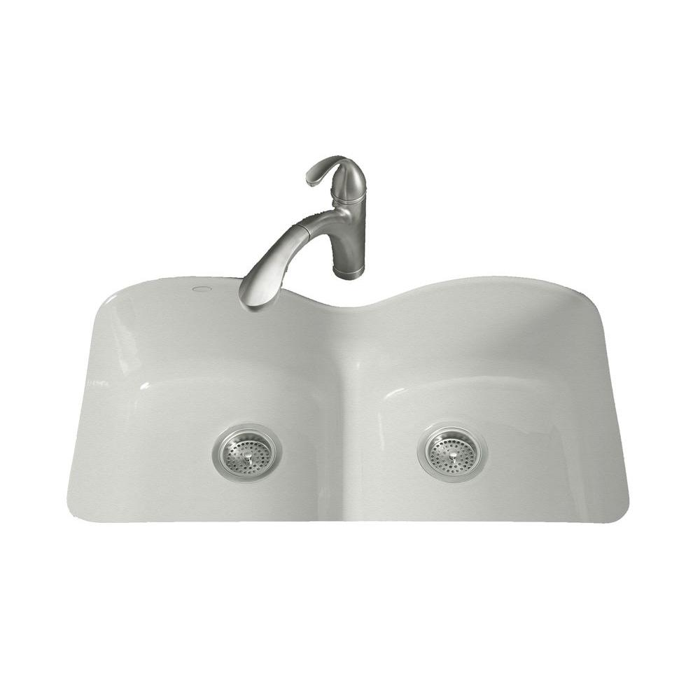 KOHLER Langlade Smart Divide Undermount Cast-Iron 33 in. 6-Hole Double Bowl