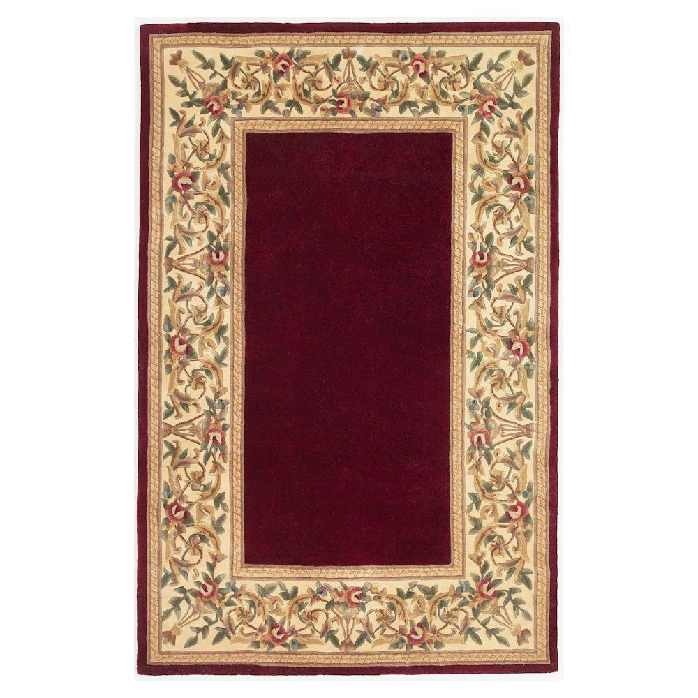 Kas Rugs Lush Floral Border Ruby 3 ft. 3 in. x