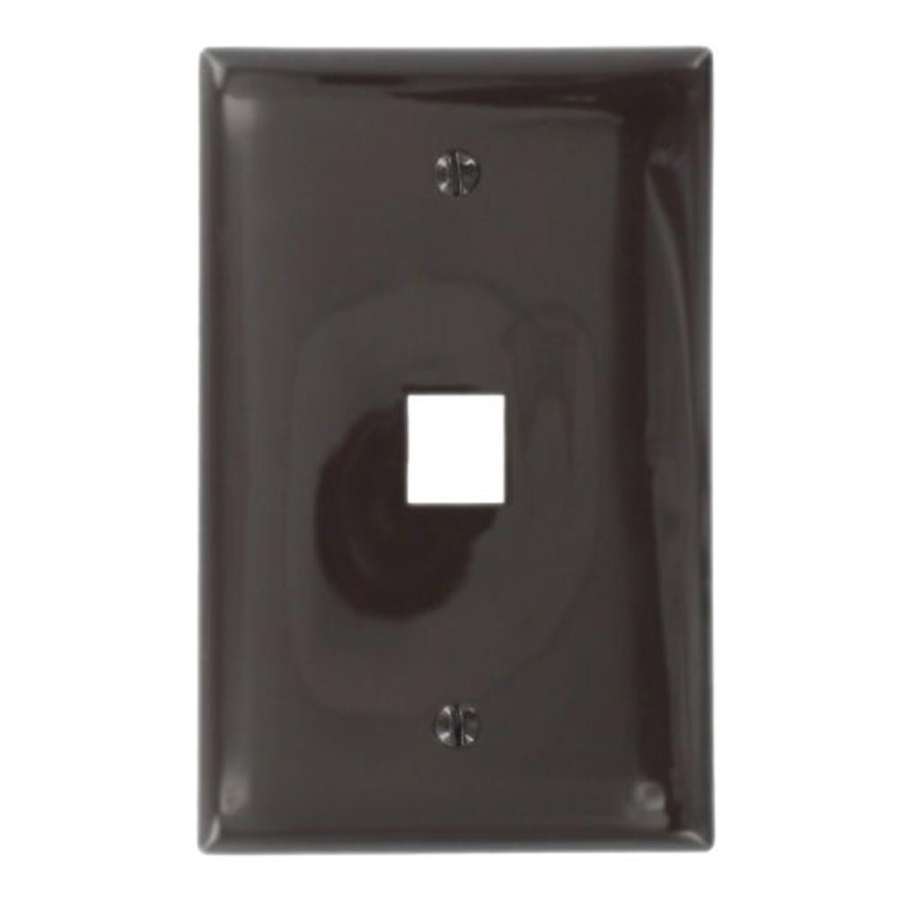1-Gang QuickPort Midway Size 1-Port Wallplate, Brown