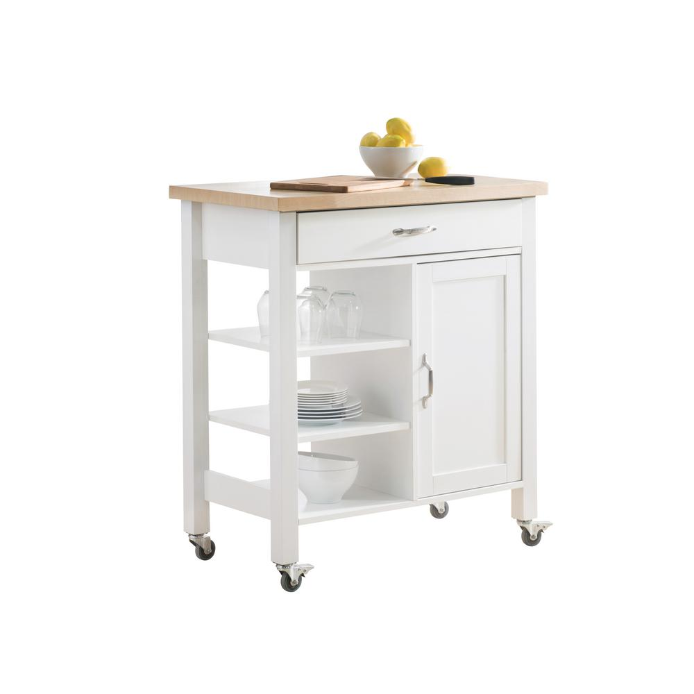 Kitchen Cart With Drawers: Sunjoy Greenwich White Body With Wood Top Kitchen Cart
