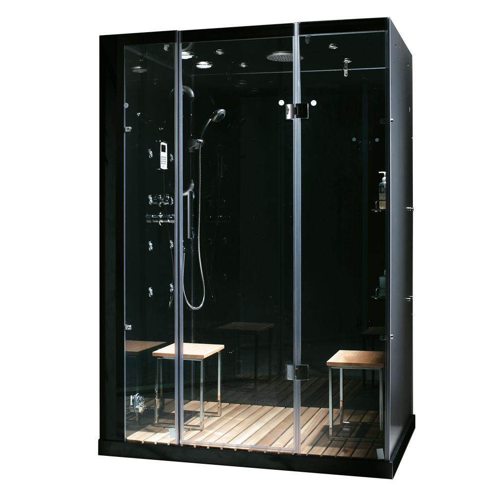 Steam Planet Orion 59 in. x 32 in. x 86 in. Steam Shower Enclosure in Black