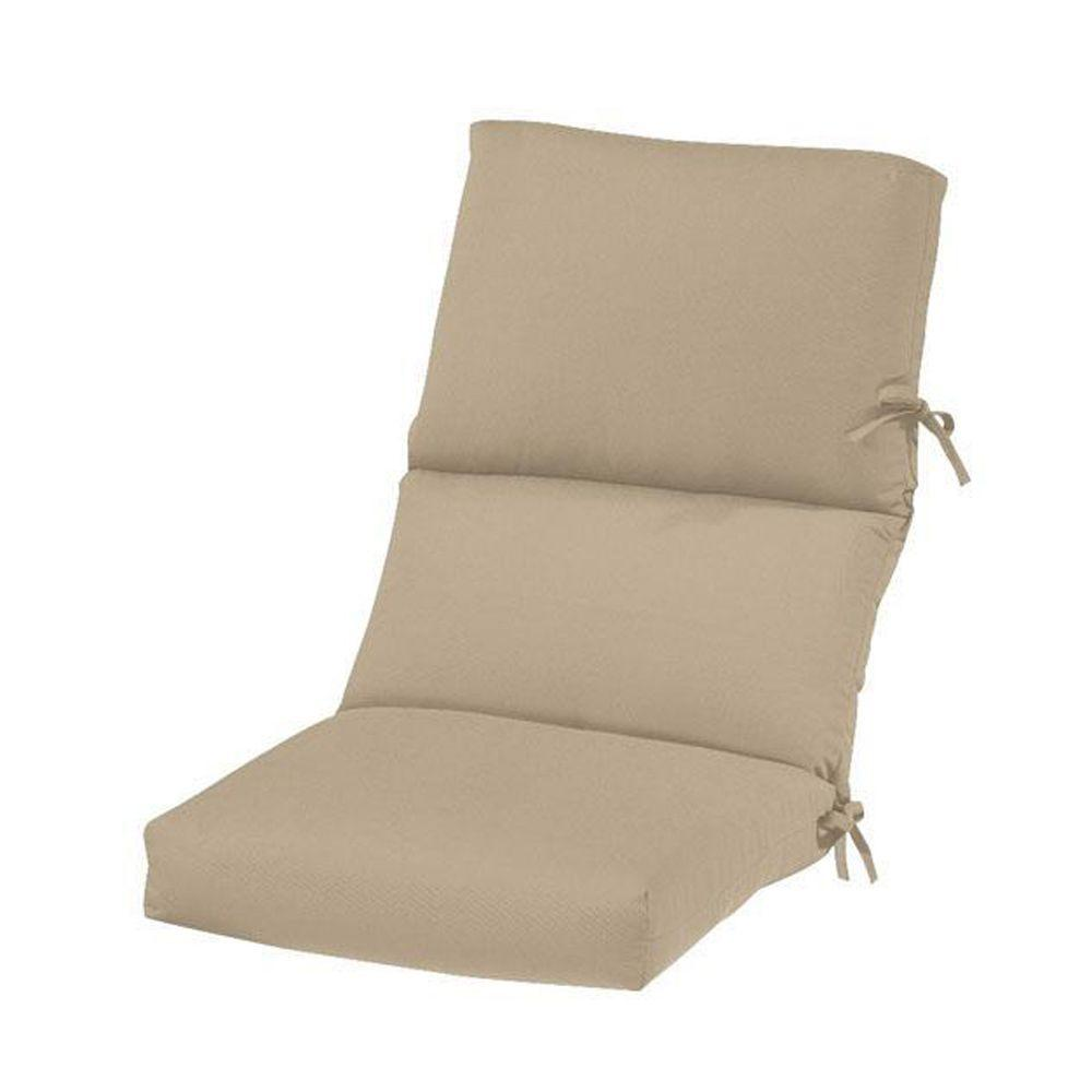 Sunbrella Heather Beige Outdoor Dining Chair Cushion-1573310810 - The Home Depot