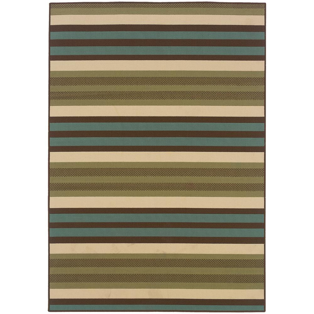 Candy Stripe Green/Brown 5 ft. 3 in. x 7 ft. 6