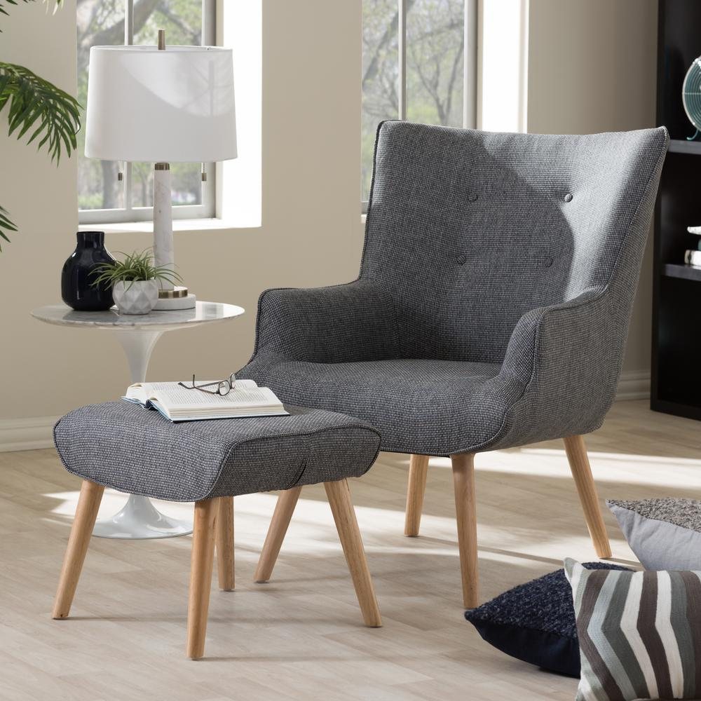 Nola Mid Century Gray Fabric Upholstered Accent Chair And Ottoman Set