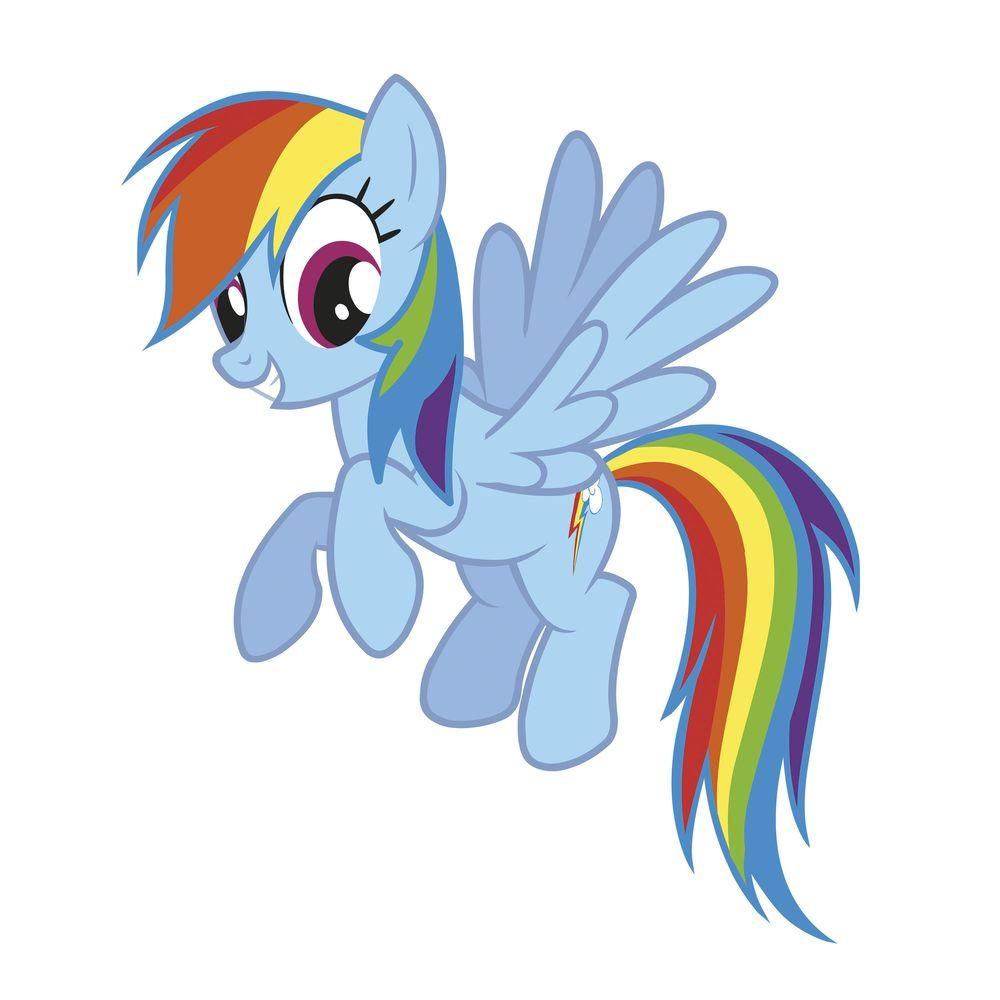 RoomMates Wall Decorations 25.8 in. x 30.4 in. Rainbow Dash Peel and Stick Giant Wall Decal Multi RMK2532GM