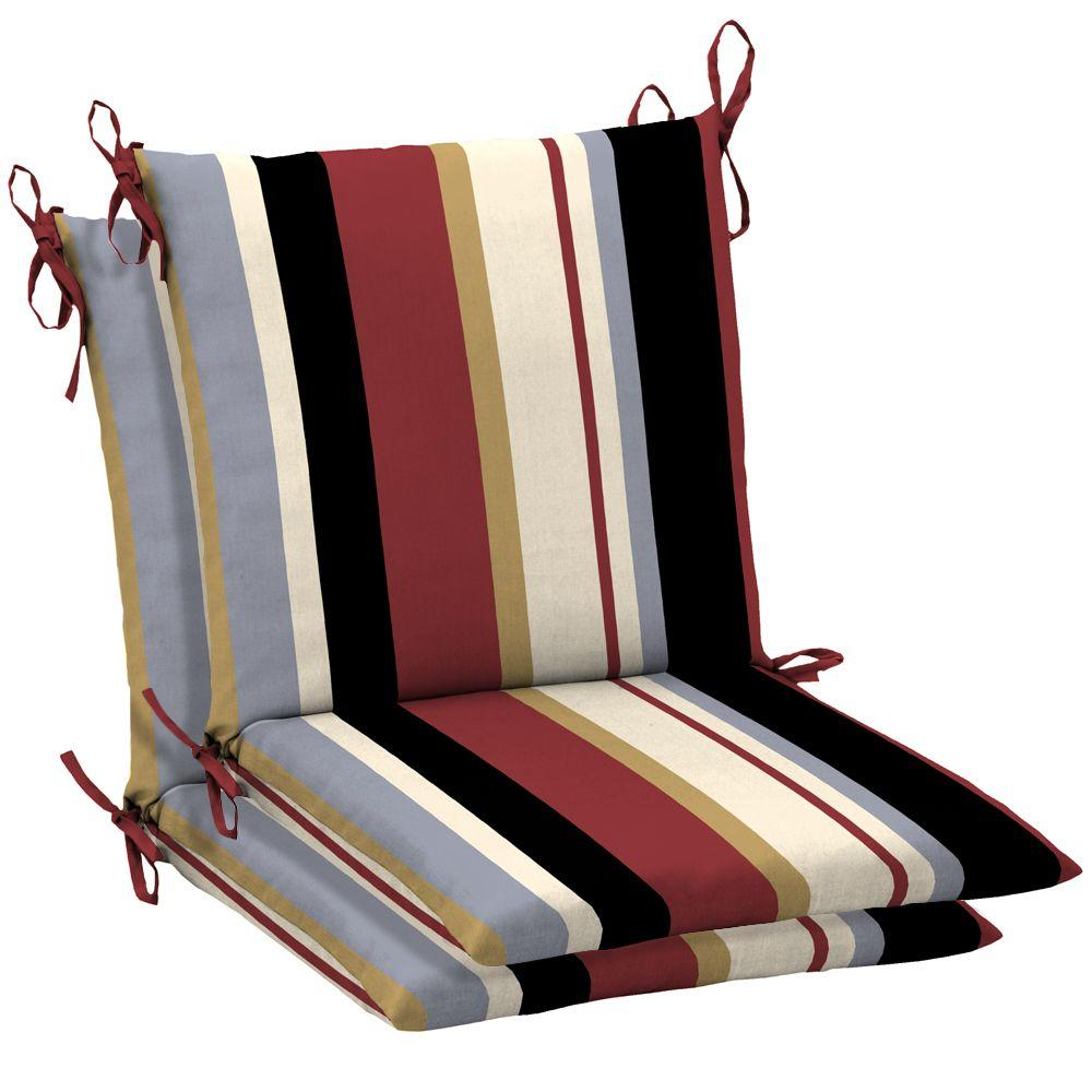 Arden Holden Stripe Port Mid Back Outdoor Chair Cushion 2 Pack-DISCONTINUED