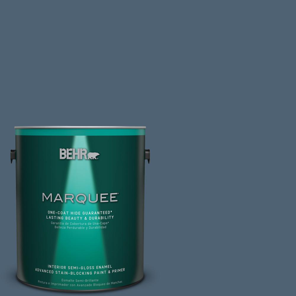 1 gal. #T17-17 Midnight Show Semi-Gloss Enamel Interior Paint