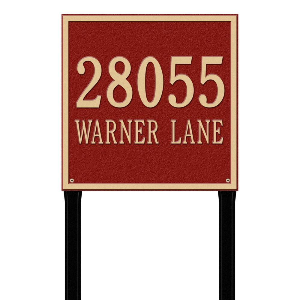 Whitehall Products Square Estate Lawn 2-Line Address Plaque - Red/Gold-2120RG -