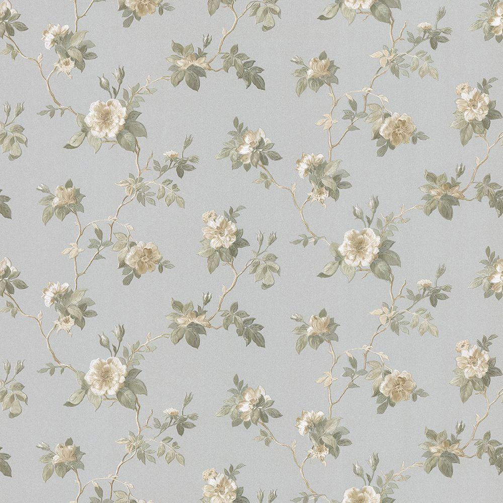 Agatha Silver Scrolling Floral Wallpaper Sample
