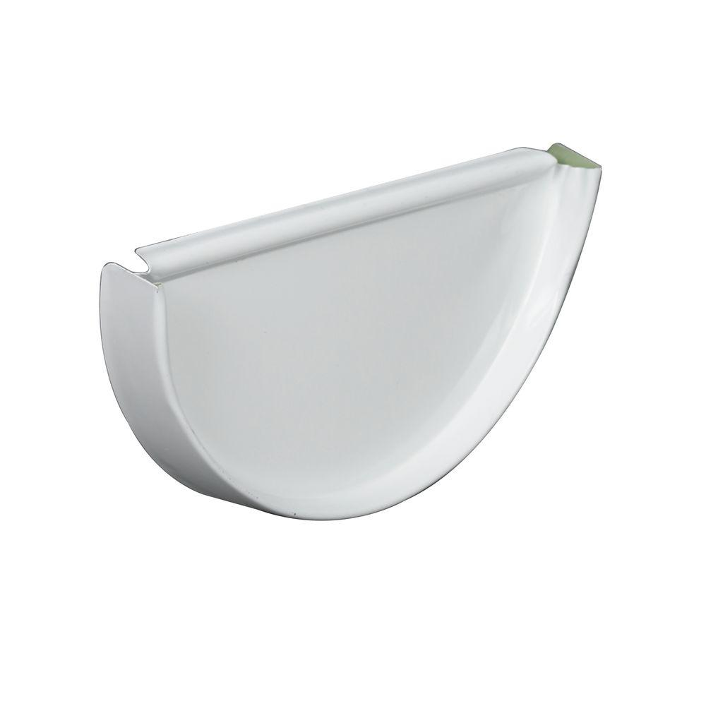 6 in. Half Round White Aluminum High Gloss 80 Degree End