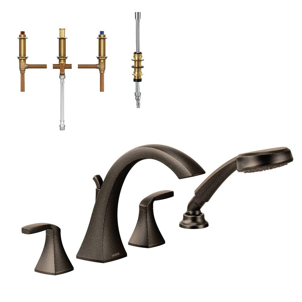 Voss 2-Handle High-Arc Roman Tub Faucet Trim Kit with Handshower and