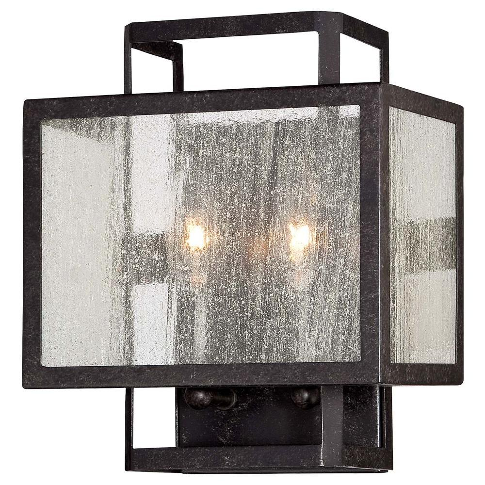 Minka Lavery 2-Light Aged Charcoal Wall Sconce-4870-283 - The Home Depot