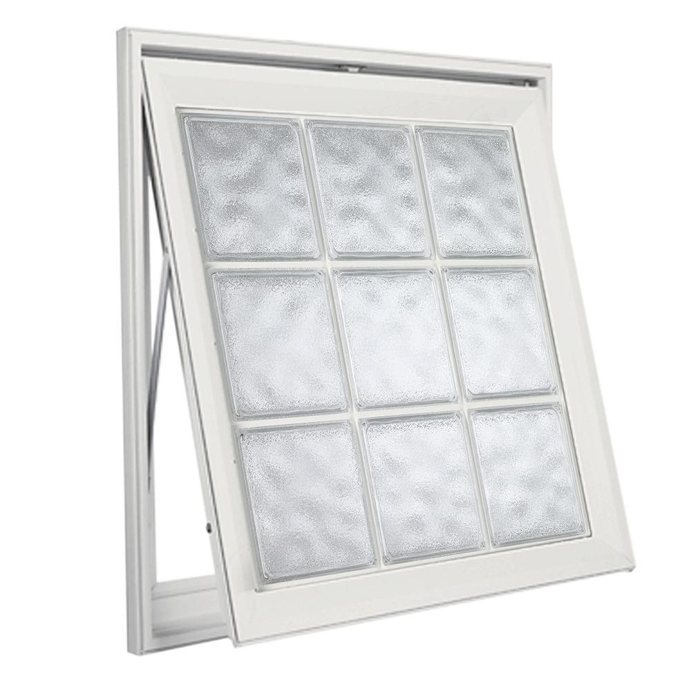 Hy-Lite 29 in. x 29 in. Acrylic Block Awning Vinyl Window - White
