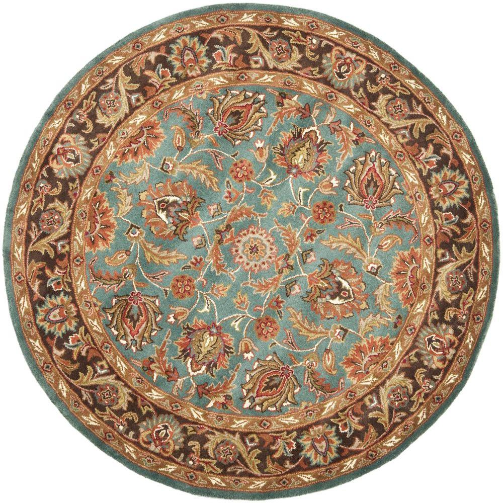 Safavieh Heritage Blue Brown 6 Ft Round Area Rug Hg812b