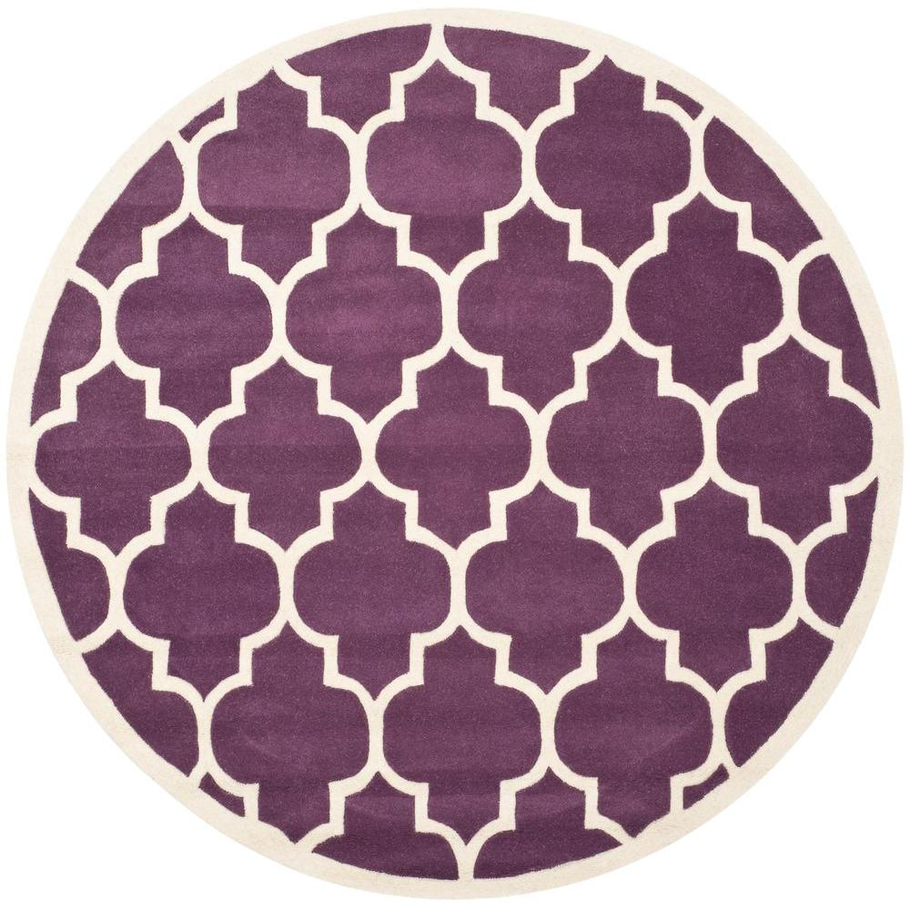 Chatham Purple/Ivory 4 ft. x 4 ft. Round Area Rug