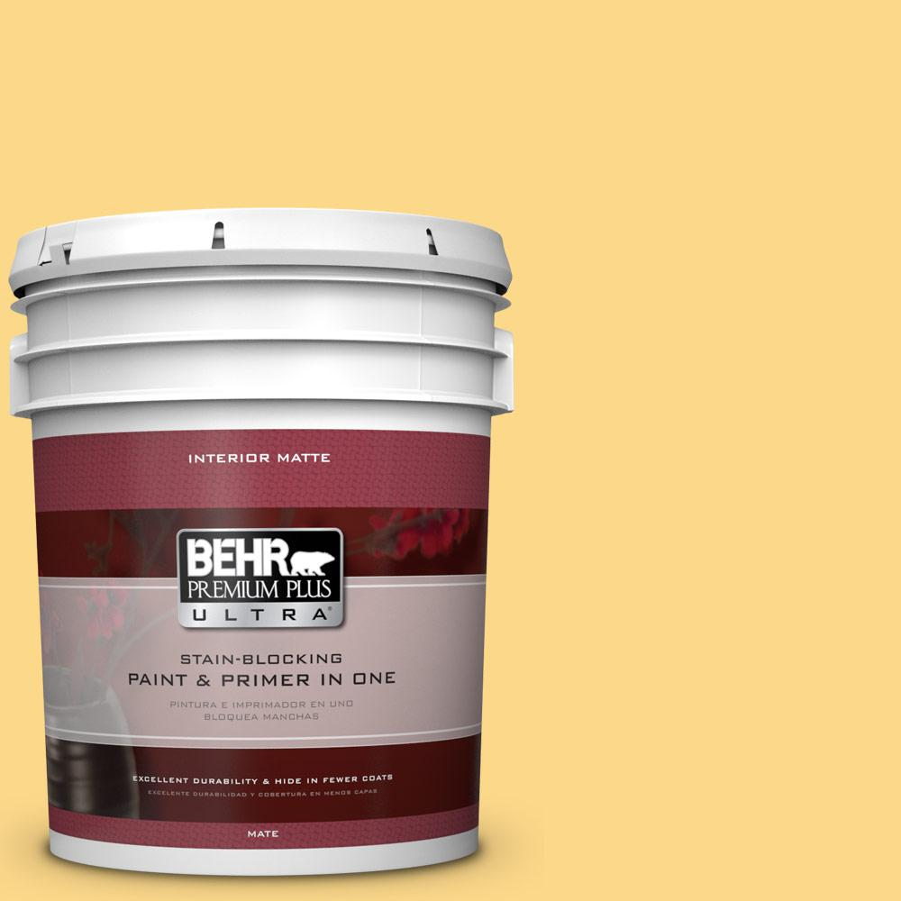 BEHR Premium Plus Ultra 5 gal. #P280-4 Surfboard Yellow Matte Interior Paint
