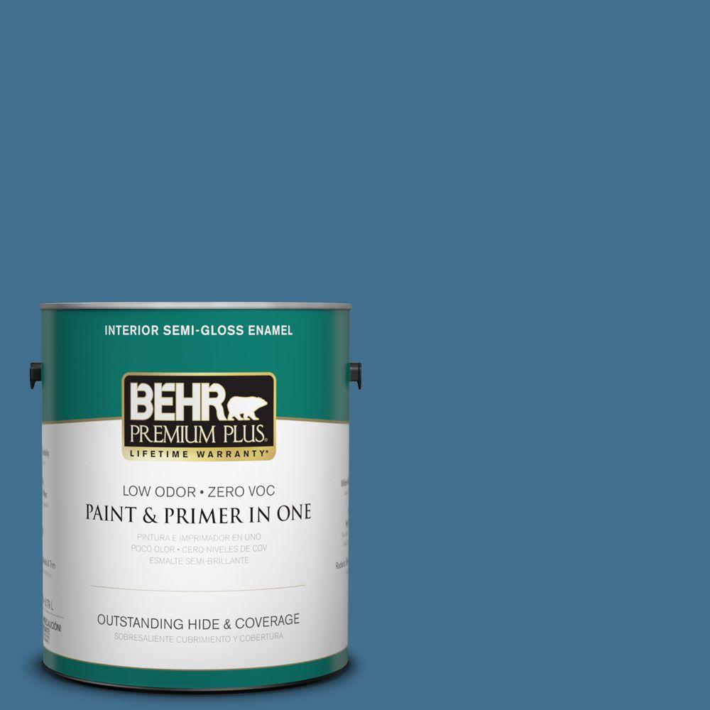 1-gal. #M500-5 Sojourn Blue Semi-Gloss Enamel Interior Paint