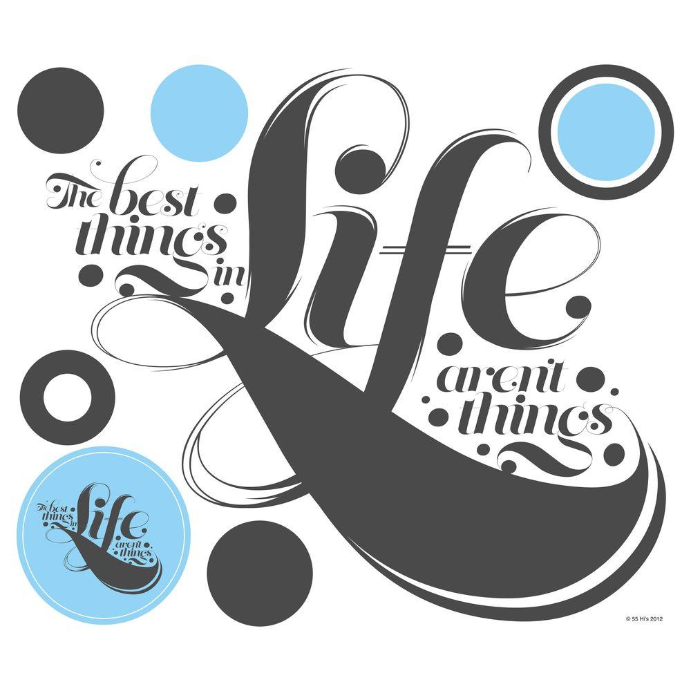 null 20 in. x 16.75 in. 55 Hi's - The Best Things in Life 7-Piece Peel and Stick Giant Wall Decals