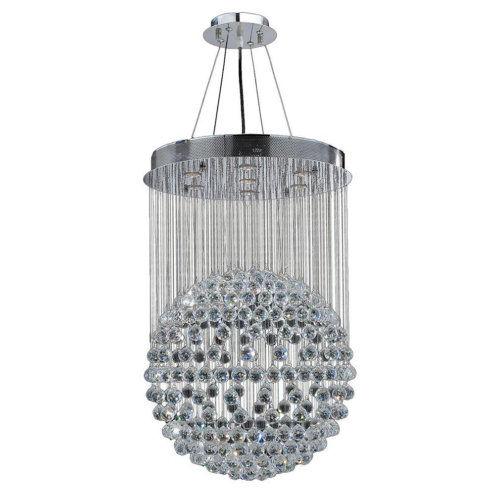 Saturn Collection 6-Light Chrome Chandelier with Clear Crystal