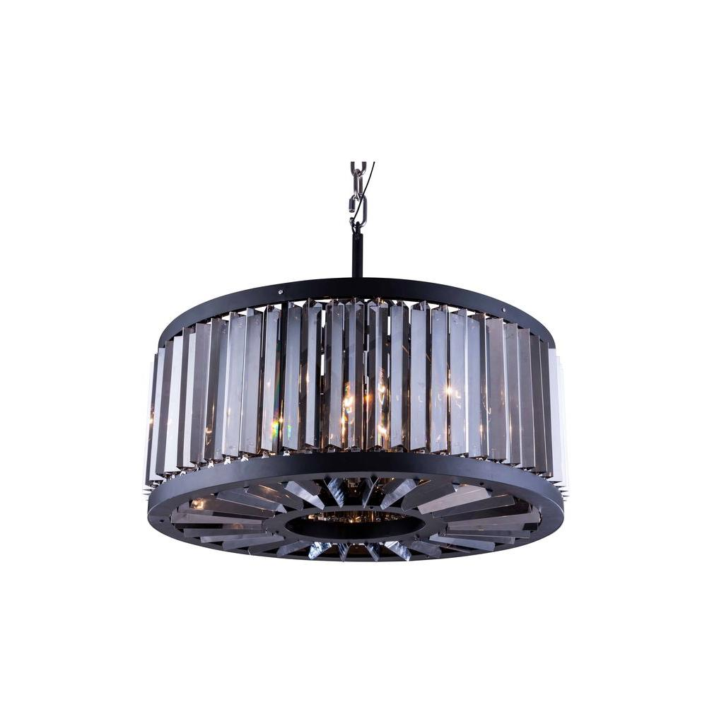 Chelsea 8-Light Mocha Brown Chandelier with Silver Shade Grey Crystal