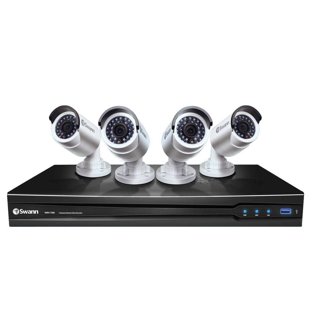 Swann 4-Channel Network Video Recorder with Smartphone Viewing and 4 x NHD-820 Camera