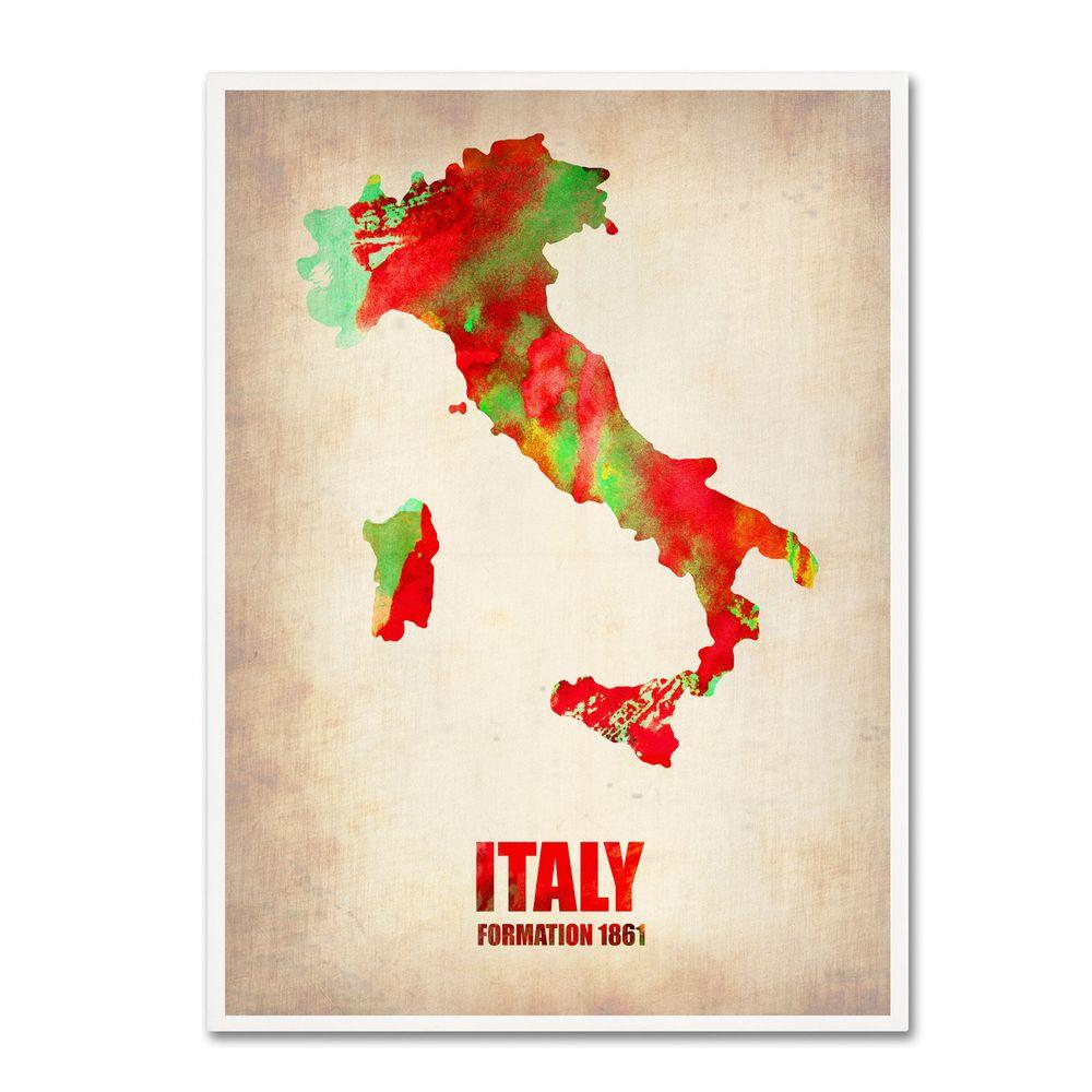 Trademark Fine Art 47 in. x 35 in. Italy Watercolor Map Canvas Art