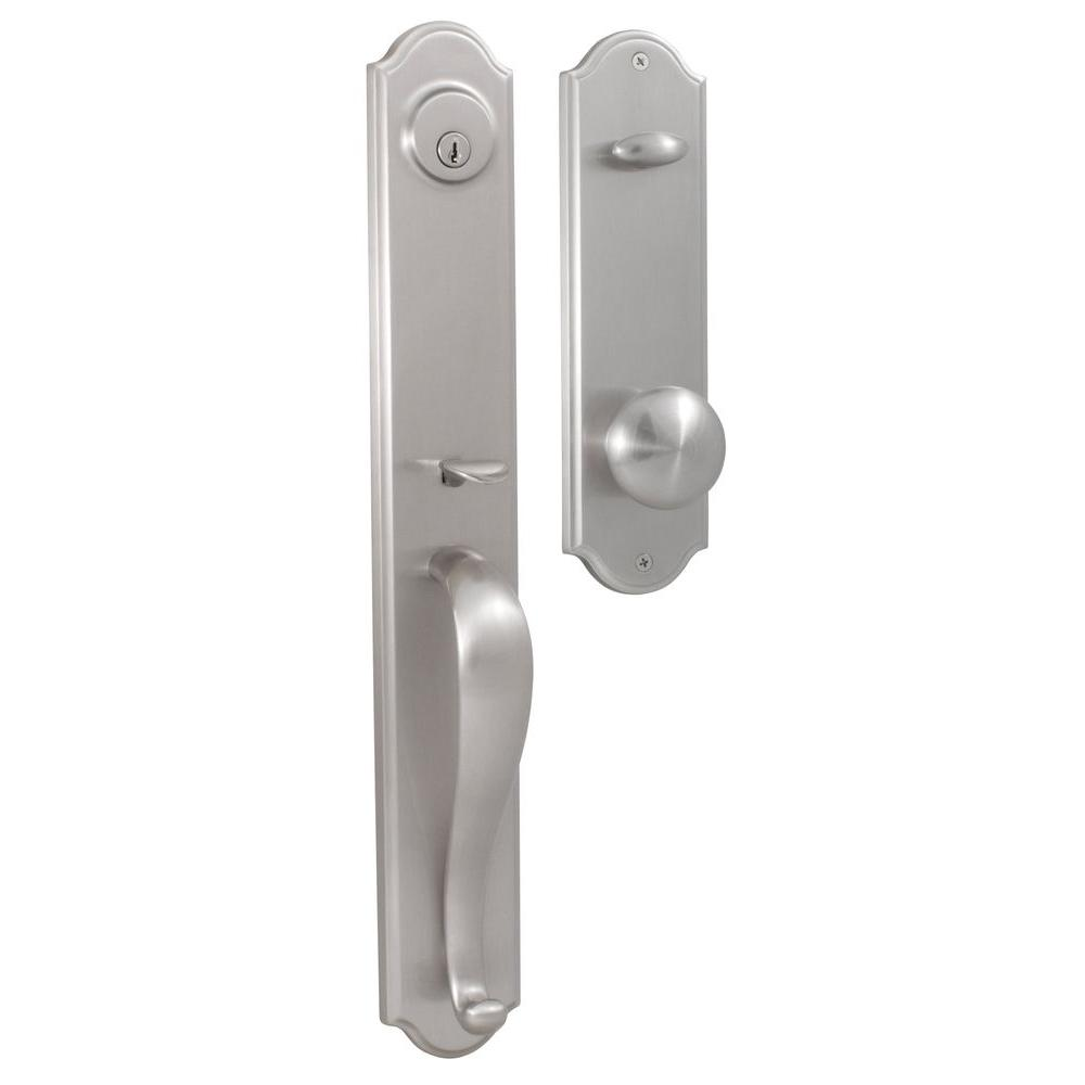 Elegance Single Cylinder Satin Nickel Philbrook Interconnect Handleset with