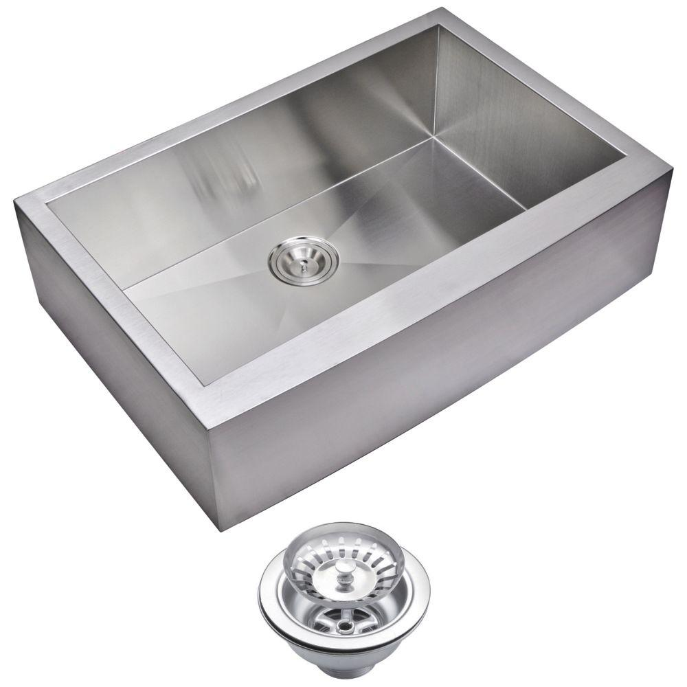 Water Creation Farmhouse Apron Front Zero Radius Stainless Steel 33 in. Single Bowl Kitchen Sink with Strainer in Satin