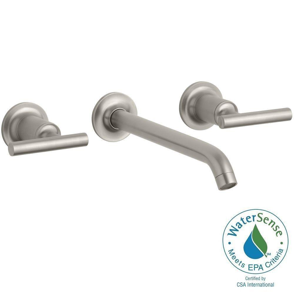 Purist Wall-Mount 2-Handle Low-Arc Water-Saving Bathroom Faucet Trim Kit in