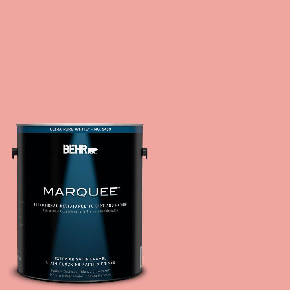 BEHR MARQUEE 1-gal. #160B-4 Modestly Peach Satin Enamel Exterior Paint-945401 -
