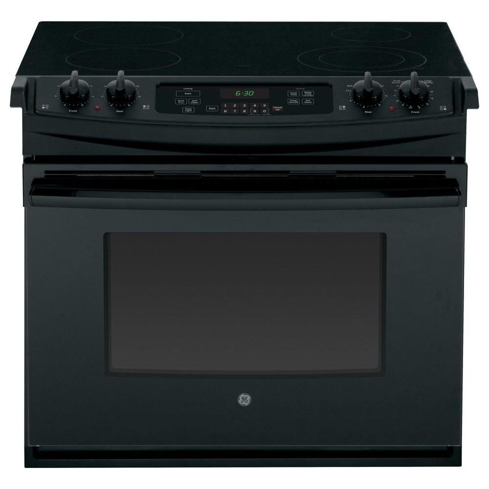 GE 4.4 cu. ft. Drop-In Electric Range with Self-Cleaning in Black