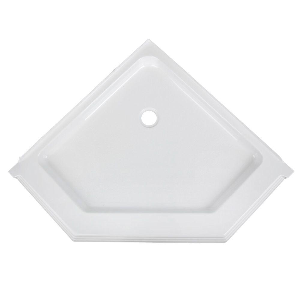 Aqua Glass 42 in. Neo Angle Shower Base in White