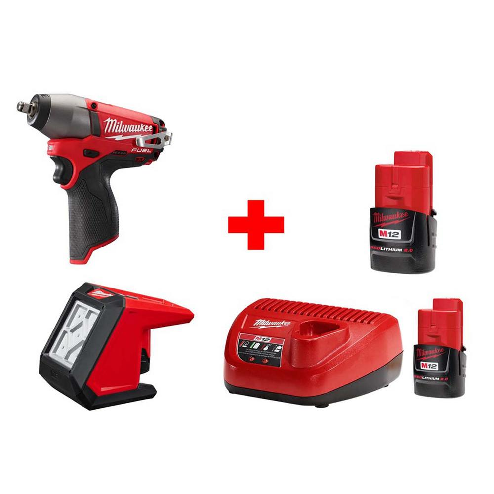 M12 12-Volt Lithium-Ion Cordless Fuel 3/8 in. Impact Wrench and LED