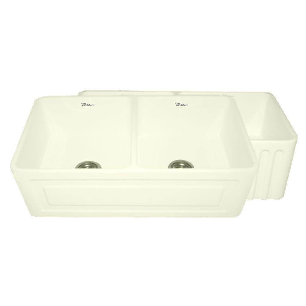 Whitehaus Collection Raised Panel Reversible Farmhouse Apron Front Fireclay 33 in. Double Basin Kitchen Sink in Biscuit