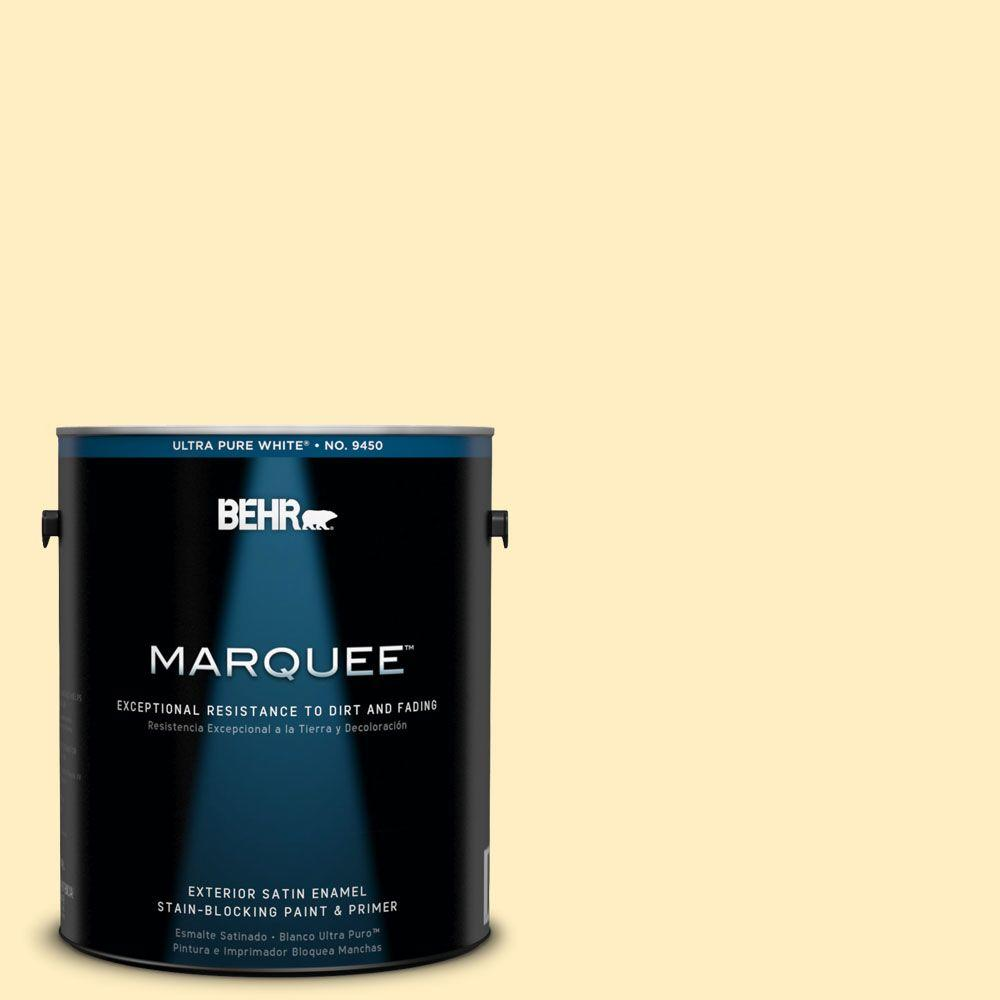 BEHR MARQUEE 1-gal. #380A-2 Moonlit Yellow Satin Enamel Exterior Paint-945001 -
