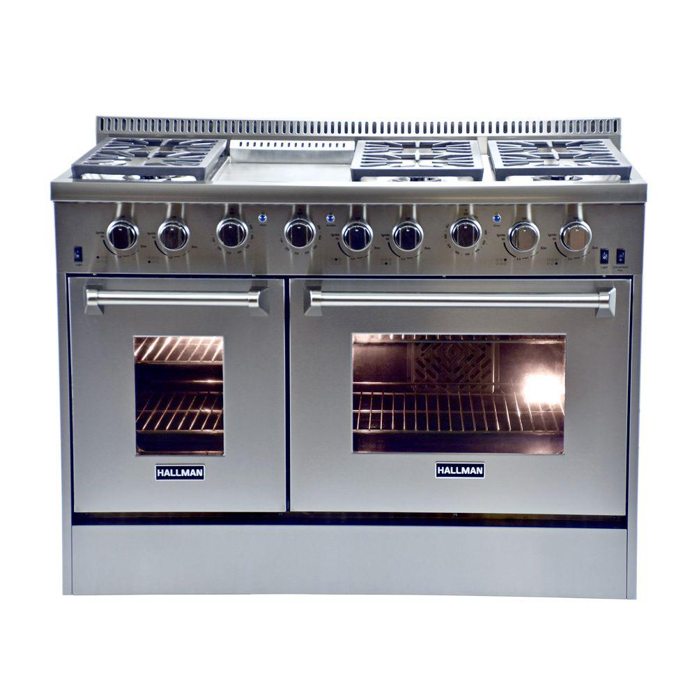 48 in. 6.7 cu. ft. Professional Convection Gas Range with Two