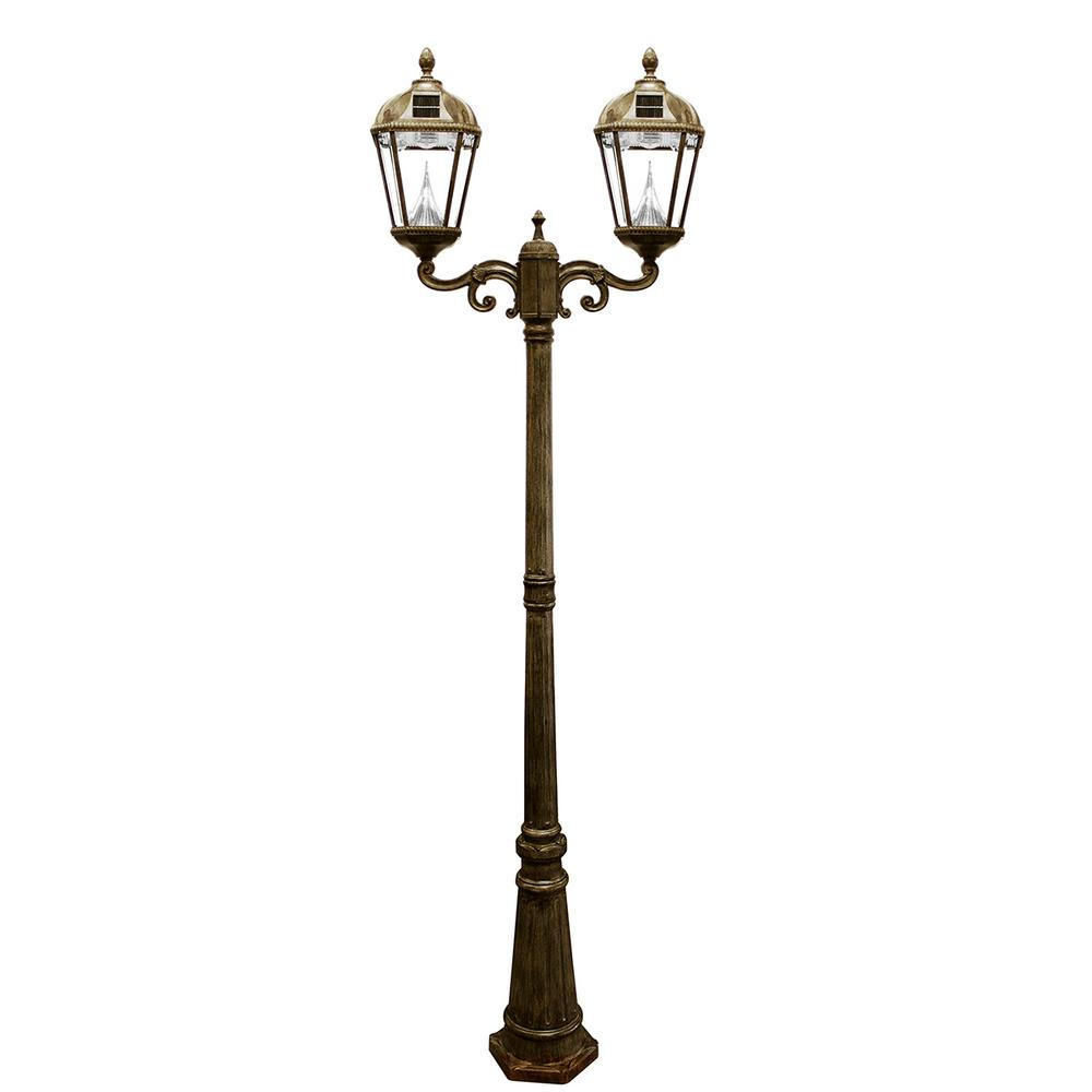 Gama Sonic Royal 2-Head Solar Weathered Bronze Outdoor Lamp Post