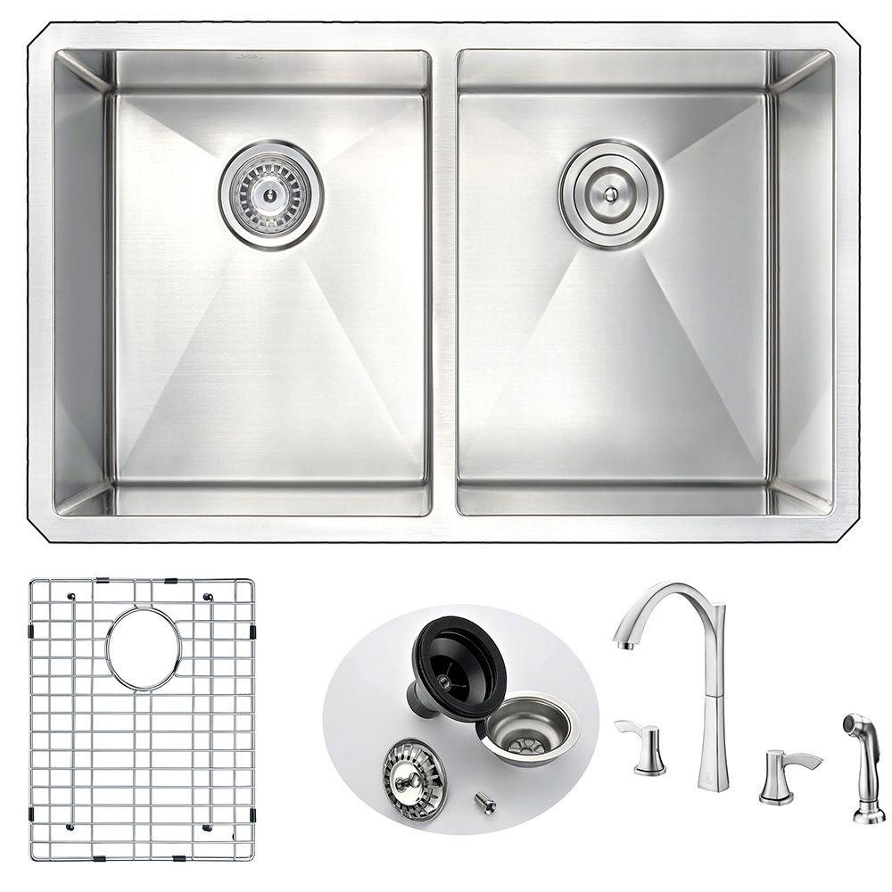 Vanguard Undermount Stainless Steel 32 In Double Basin Kitchen Sink And