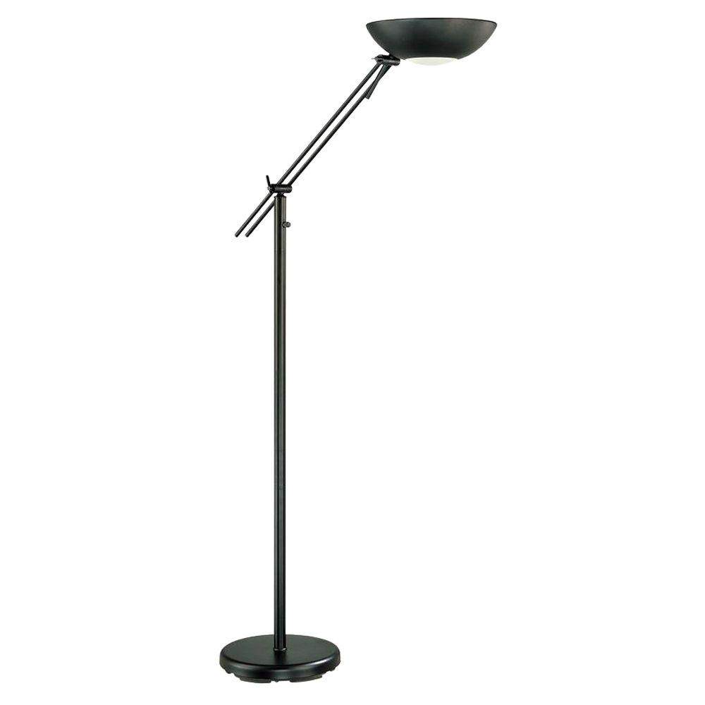Illumine 1-Light Torchiere Lamp Black Finish-DISCONTINUED