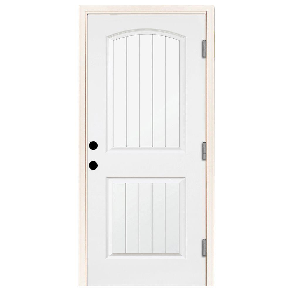 Steves Sons 32 In X 80 In Premium 2 Panel Plank Primed White Steel Prehung Front Door With