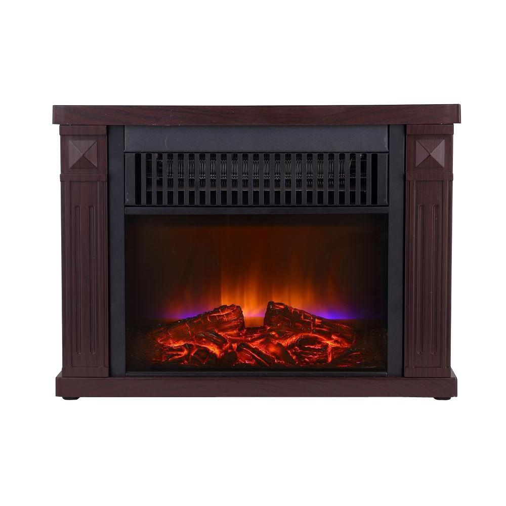 1200-Watt Cherry Color Mini Fireplace with Wood Cabinet
