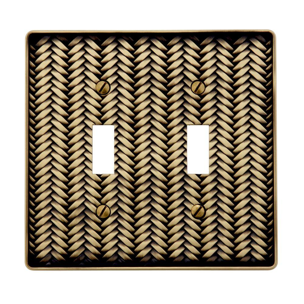 Amerelle Weave 2 Toggle Wall Plate - Antique Brass